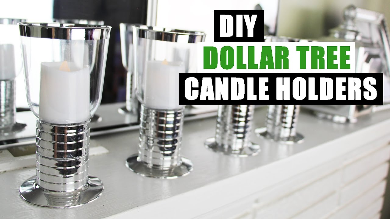 DIY DOLLAR TREE GLAM FAUX MIRROR CHROME CANDLE HOLDERS