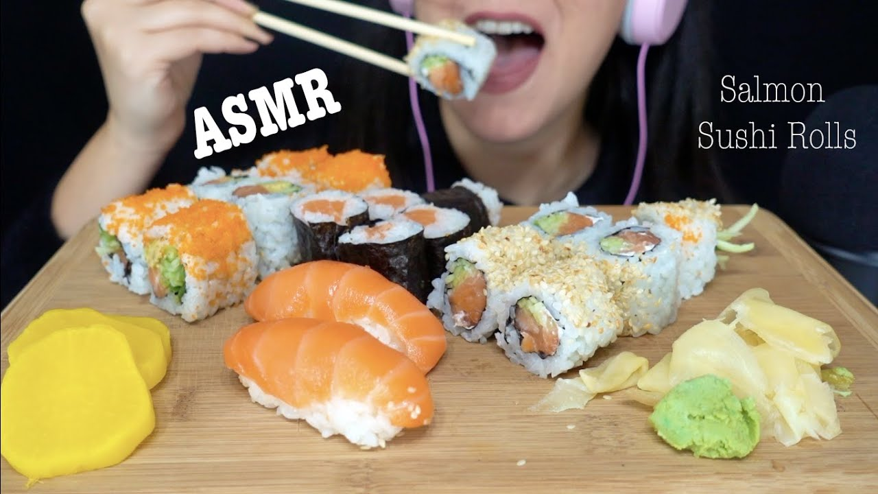 ASMR | SALMON Sushi FEAST | NO Talking Chewy EATING SOUND
