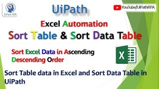 UiPath-Sort Table|Sort Data Table|Excel Automation|UiPath RPA Tutorial