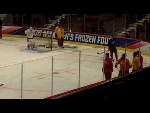 Denver practices before Frozen Four championship game