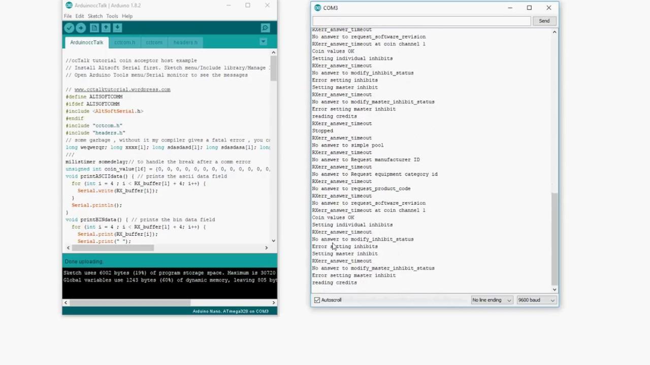 ccTalk tutorial, ccTalk on Arduino nano part 3 coin acceptor