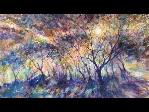 "Watercolor Painting Landscape ""Morning Tree"" in Woods – Tutorial with Narration 水彩画の描き方・風景画・水彩畫・수채화"