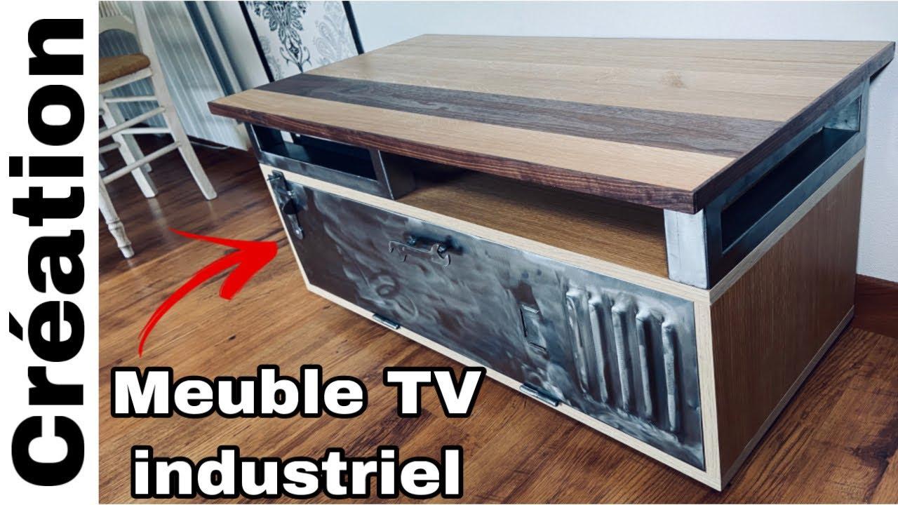 wadiga meuble de television bois mdf et metal noir 2 etages sur roulettes