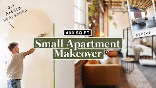 400 SQ FT ✨ SMALL LOFT APARTMENT MAKEOVER + DIY Arch Headboard (Part 1)