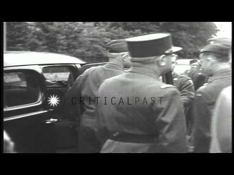 US General Omar Bradley and Soviet officers at the Adolf Hitler Barracks during U...HD Stock Footage
