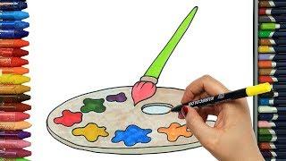 Renkli Palet kolay çizim | Nasıl çizilir | Çocuklar için eğlenceli boyama | Çizelim Boyayalım