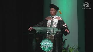 Jack Ma delivers speech after conferment of Honoris Causa