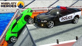 Police Car Sergeant Lucas Rescuing Sport Car who Felt into Water - Wheel City Heroes (WCH) Cartoon