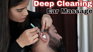 Ear Cleansing with cotton swab ear massage - Relaxing Cosmic lady indian barber - Asmr Queen