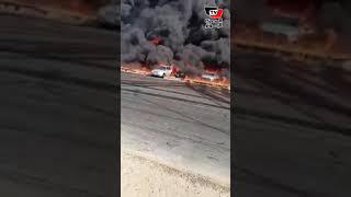 مشاهد صادمة .. انفجار خط غاز بطريق الإسماعيلية الصحراوي
