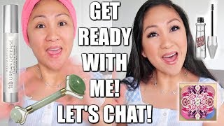 CHIT CHAT GET READY WITH ME! | Jade Roller, Urban Decay, MAC Patrick Starrr, Benefit, Flower Beauty