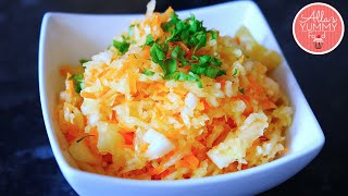 Cabbage Salad - Russian Recipe - Салат из свежей капусты с морковью(Russian cabbage salad is a very tasty, light and easy to make. It perfectly complements meaty and potato dishes. The Russians often eat it with kotlety (russian ..., 2015-06-23T10:30:01.000Z)