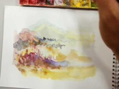 Paint Landscape using Watercolour by Art Calligrafia Mohamad – Part 2