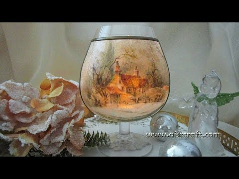 Christmas Home Decor DIY  Decoupage Candle & Tea Light Holder