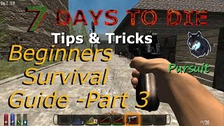 7 Days To Die Beginners Survival Guide Part 3, Looting, Learning Books, Gun Use, Inventory +