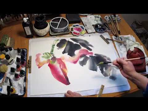 A Live Painting Demo of Banana Flower and Hummingbird