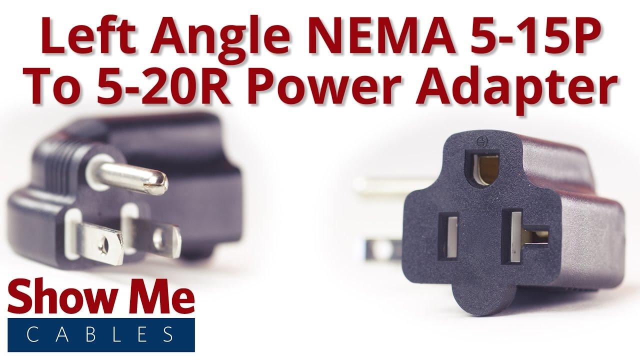 nema 5 15p to nema 5 15r or 5 20r left angle power adapter 27 140 060 [ 1280 x 720 Pixel ]