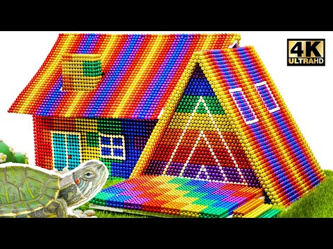 ASMR - How To Build Hut House For Turtle From Magnetic Balls (Satisfying)   Magnet World Series