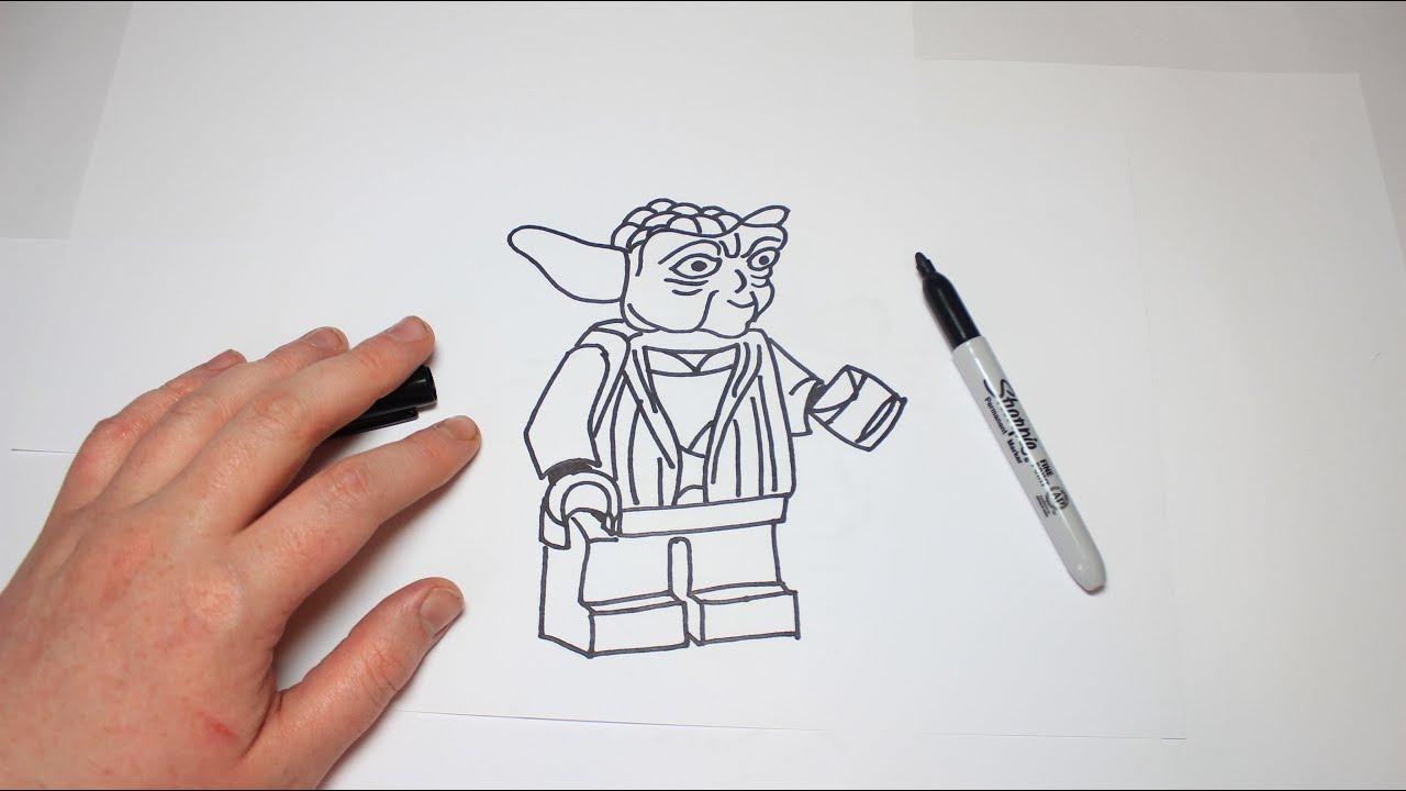 easy how to draw lego star wars yoda youtube
