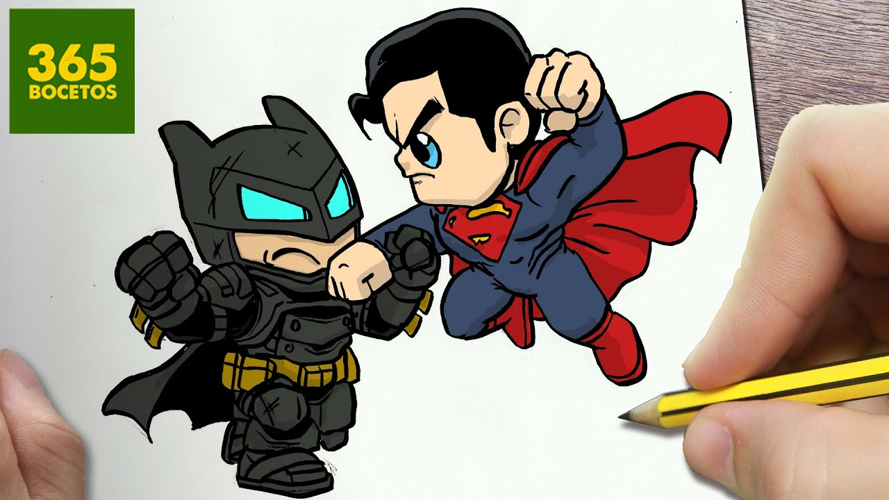 COMO DIBUJAR BATMAN VS SUPERMAN KAWAII PASO A PASO  Dibujos