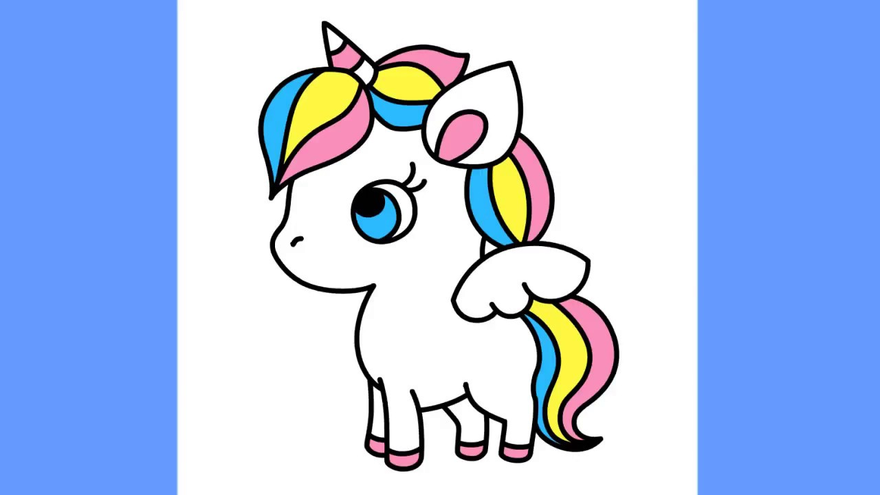 How to draw Cute Unicorn Little Pony step by step - YouTube