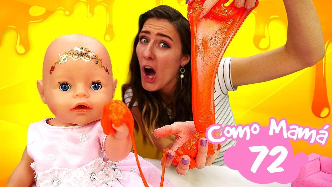 La bebé Amelia juega con Slime de colores. Muñecos llorones Baby Born. Vídeos para niñas
