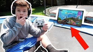 PLAYING FORTNITE ON MY TRAMPOLINE!