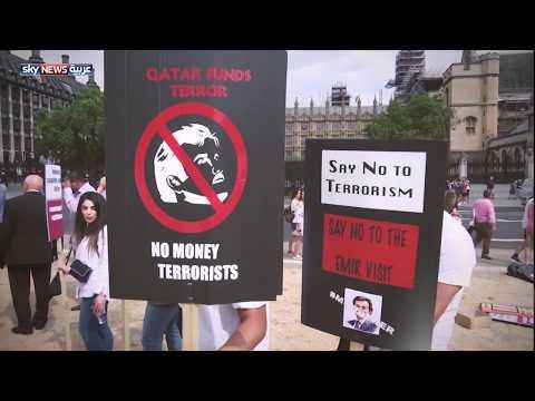 مظاهرات أمام مجلس العموم احتجاجا على زيارة أمير قطر