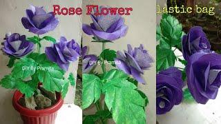 DIY Cara Membuat Bunga Mawar Dua Warna dari Plastik Kresek | DIY  Rose flower with plastic bags