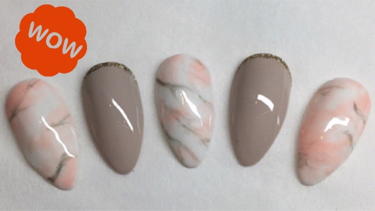 How To Do Marble Gel Nail Art Tutorial No Sharpies Youtube