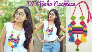 Diy boho necklace | How to make multi color necklace | at home