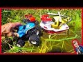 MONSTER TRUCKS FOR CHILDREN RESCUED BY GREEN TOYS HELICOPTER BOAT