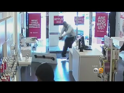 VIDEO: Couple Steals Phones At Garden Grove T-Mobile, Cutting Wires And Ripping Out Counters