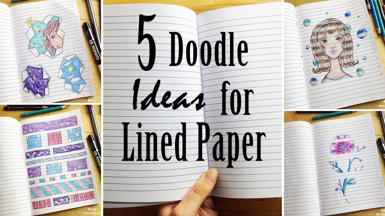 5 Doodle Ideas For Lined Paper Drawing In Notebooks Youtube