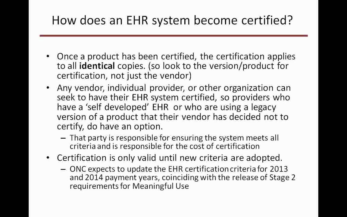 Webinarunderstanding Ehr Certification For The Cms Ehr Incentive