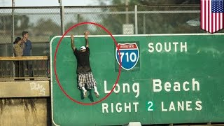 LA freeway jumper: Man on 5 Freeway holds up traffic for hour hours