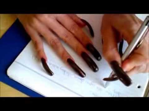 looooong dark brown nails