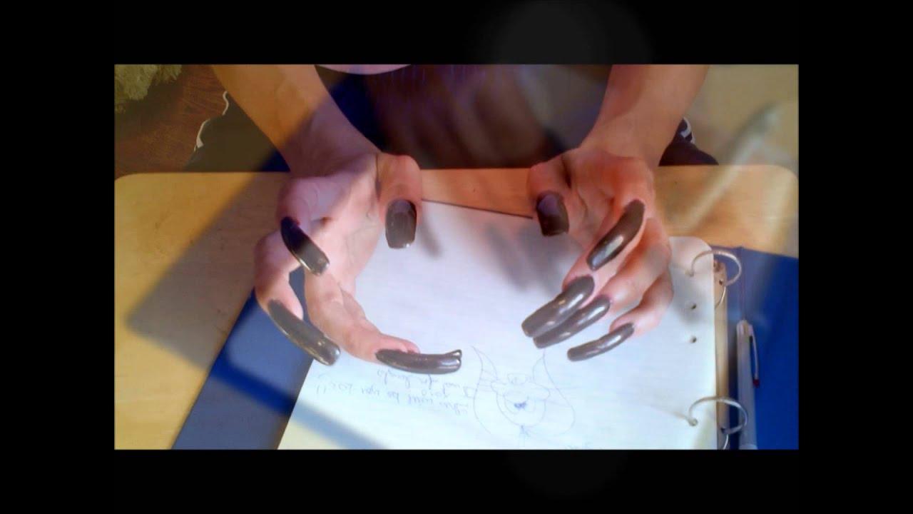 Looooong Dark Brown Nails !! - YouTube
