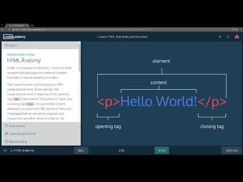 Learn HTML With Codecademy: Introduction To HTML Part 1.
