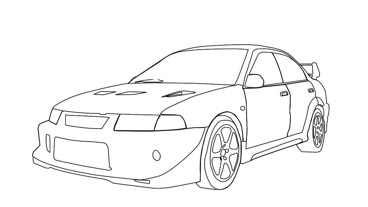 Mitsubishi Evo 6 Drawing On After Effects
