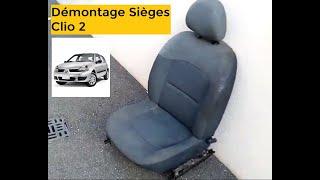 Clio II. Démontage sièges conducteur et passager.
