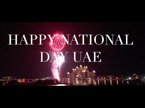 FIREWORKS DISPLAY PALM JUMEIRAH THE POINTE & ATLANTIS HOTEL CELEBRATING UAE 's NATIONAL DAY
