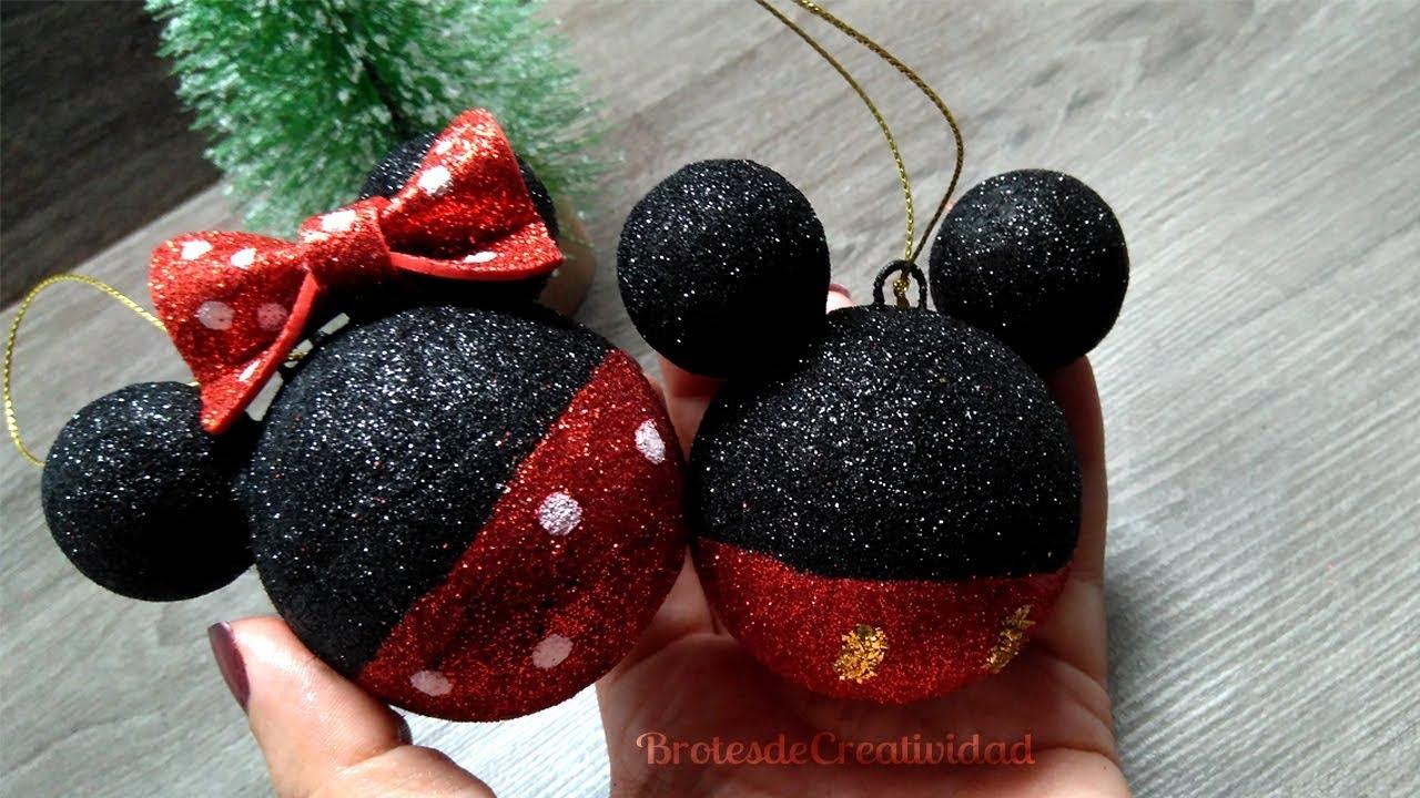 Adornos esferas de mickey y minnie mouse navidad for Adornos navidenos mickey mouse