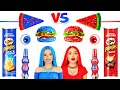 Red VS Blue Color Food Challenge! Eating Only One Colored Yummies for 24 HRS by RATATA CHALLENGE