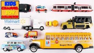 City Vehicles For Kids | School Bus Truck Tram Mini Bus Disney Van Burger Van | Kids Learning Video