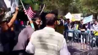 The  Azad Kashmir  protestors said  Zor se bolo , we Indians replied  Jai Mata Di  @ UN on 9 27
