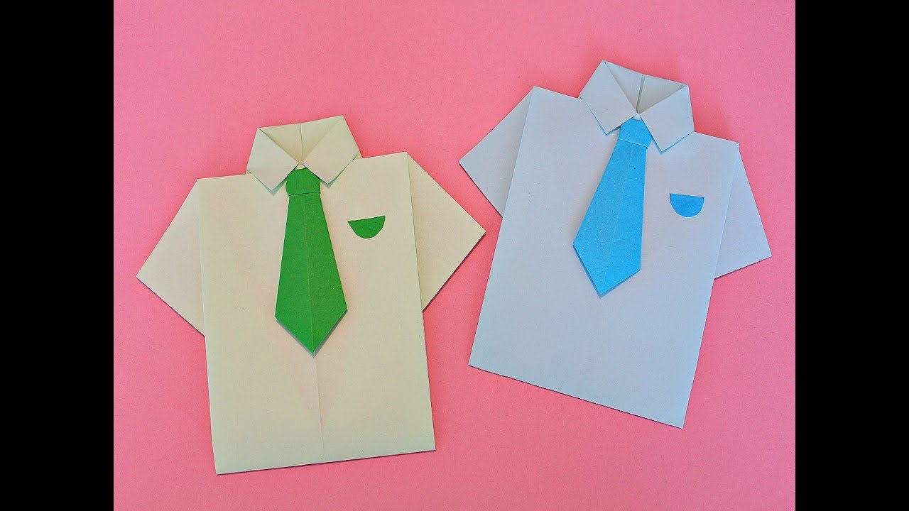 Надписью слабо, открытка из оригами рубашка