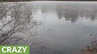 Rocks bouncing on frozen pond make bizarre sounds