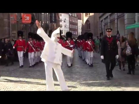 Marching Through The Streets Of Copenhagen With Tivoli's Fifes & Drums Boy Guards And Pierrot!!!