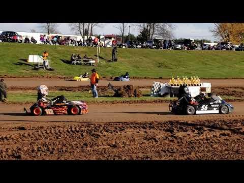 Rice Lake Speedway Kart Track, 10-19-19. Pit view, Heat Race 1, Pumpkin 100.